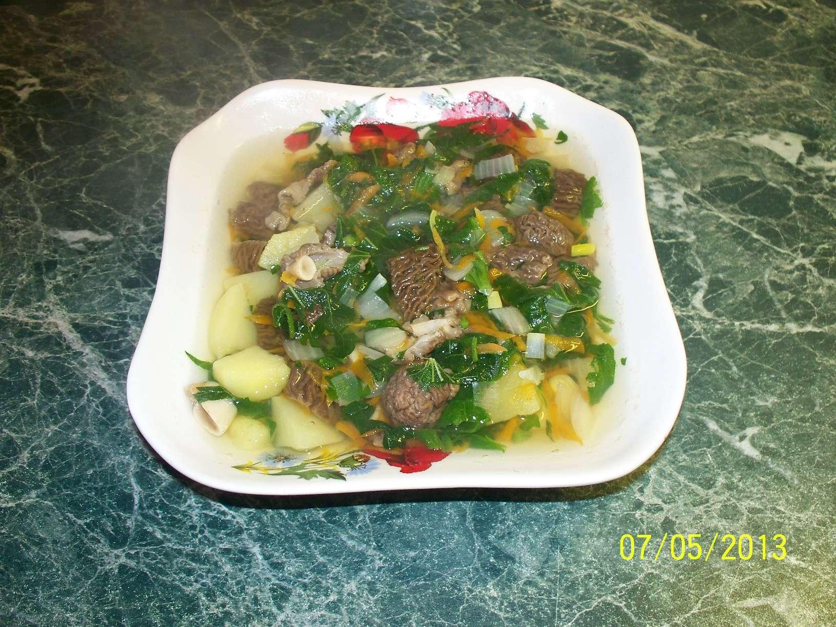 Приготовить суп из сморчков